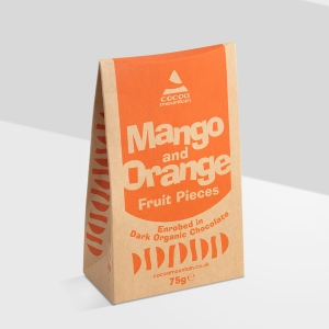 Mango & Orange Enrobed in Dark 74% Organic Chocolate
