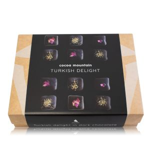 Imported Turkish Delight enrobed in 74% organic chocolate